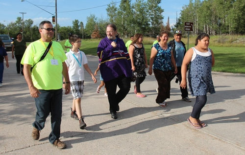 Walkers enjoy the final stretch on the way to Pinawa.