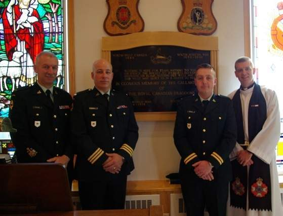 LCol Cross, RSM Richards Capt Bennet and Padre Turner after a voluntary Regimental Church Parade at St. George's Chapel.