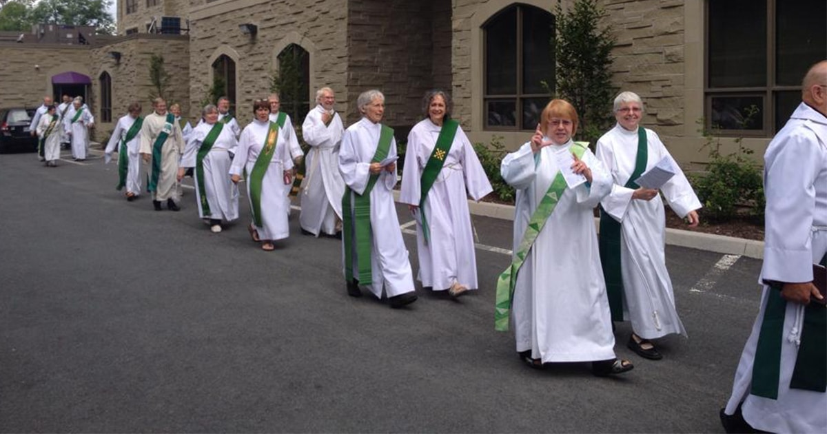 Deacons walk together at the 2014 meeting of the Association of Anglican Deacons in Canada. Submitted photo