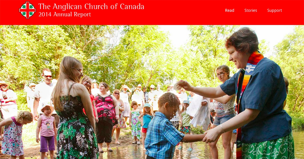 A screenshot from the 2014 annual report of the Anglican Church of Canada.
