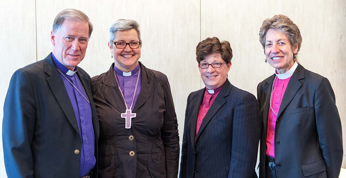 Left to right: The Most Rev. Fred Hiltz, Primate of the Anglican Church of Canada; Bishop Susan Johnson, National Bishop of the Evangelical Lutheran Church in Canada; Bishop Elizabeth Eaton, Presiding Bishop of the  Evangelical Lutheran Church in America; and the Most Rev. Katharine Jefferts Schori, Presiding Bishop and Primate of the Episcopal Church. Submitted photo