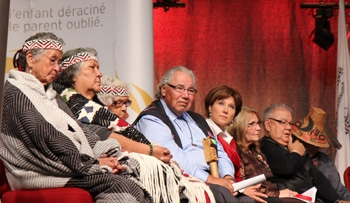 Members of the the Truth and Reconciliation Commission (TRC), church leaders and Aboriginal organizations celebrate the opening of the sixth national TRC event in Vancouver, Sept. 2013. Photo: BC GOV PHOTOS ON FLICKR