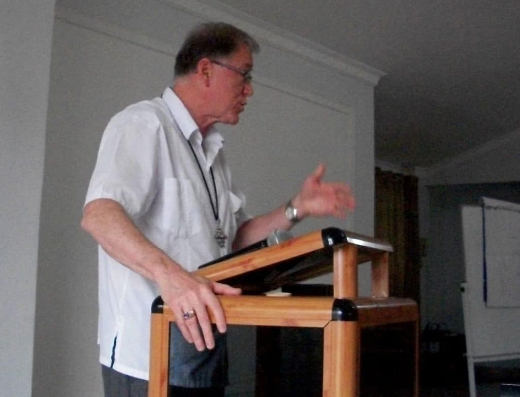 Archbishop Fred Hiltz, Primate of the Anglican Church of Canada, speaks at the Seventh Consultation of Anglican Bishops in Dialogue. Submitted photo