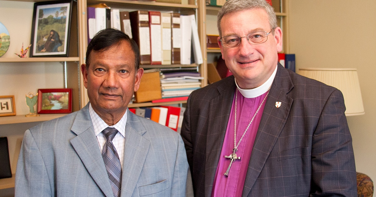 Bishop Michael Oulton (right) with Christian Cultural Association of South Asians Chair and Chief Executive Officer Samuel Laldin. Submitted photo by Mark Hauser