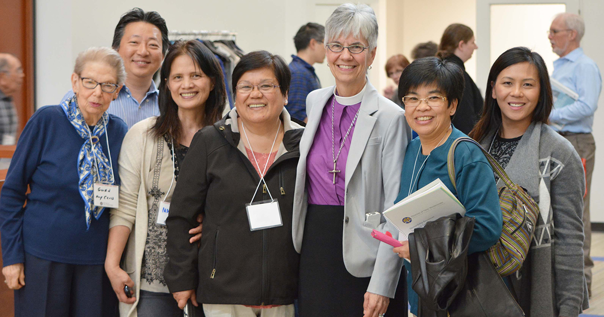 Bishop Melissa Skelton (front, third from right) attends a stewardship conference with participants from East Vancouver. Submitted photo courtesy of the Diocese of New Westminster Communications Office