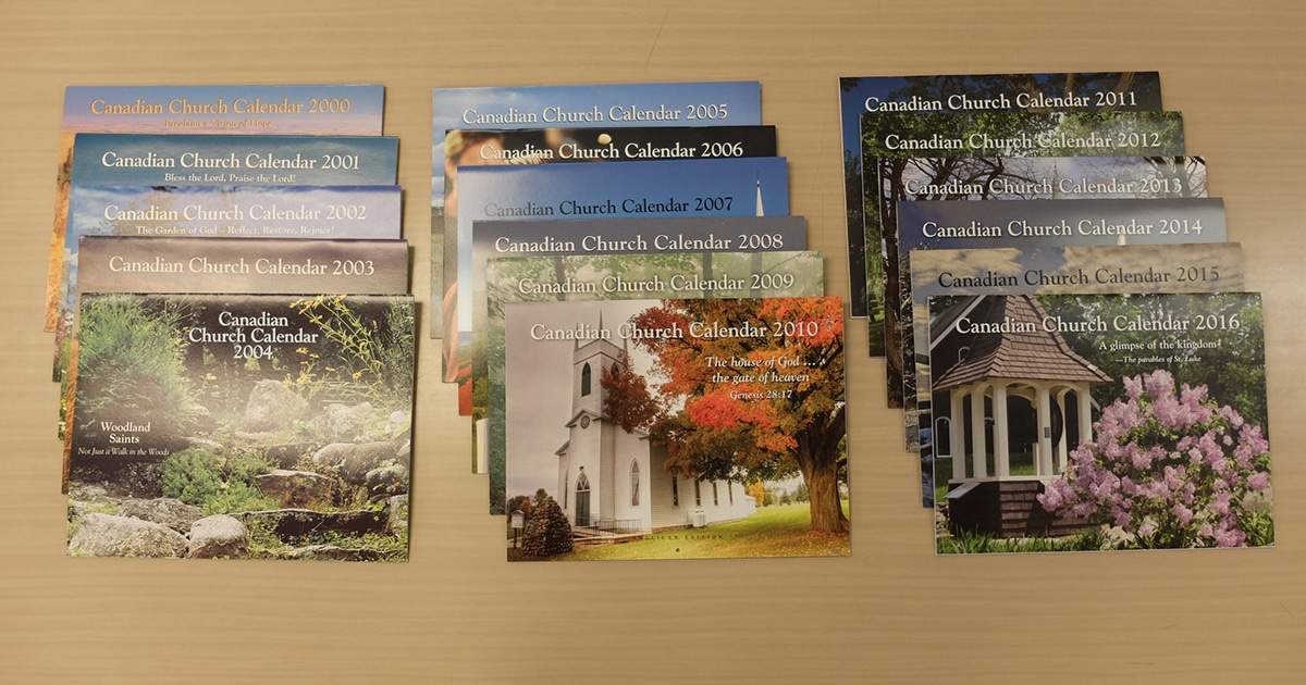 Past editions of the Canadian Church Calendar published by the Anglican Church of Canada. The 2017 calendar will see a shift in focus from church buildings to engagement in God's mission by members of both the Anglican Church and the Evangelical Lutheran Church in Canada.