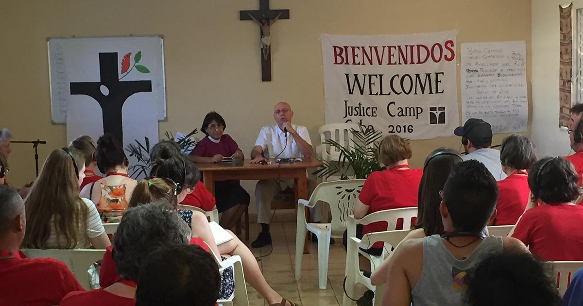 Justice Camp 2016 participants listen to a presentation by Dr. Carlos Emilio Ham—flanked on the left by Bishop Griselda Delgado del Carpio—at the Matanzas Retreat Centre in Cuba.