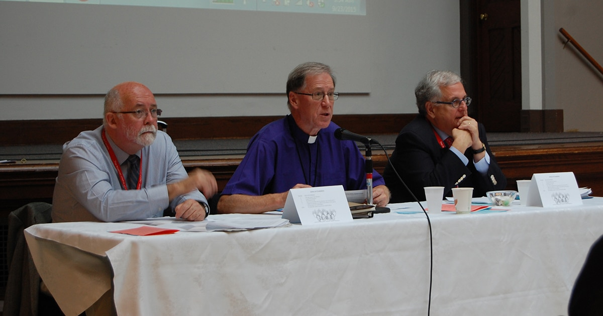 The Most Rev. Fred Hiltz (centre), Primate of the Anglican Church of Canada and president of the Council of General Synod, addresses council members alongside the Ven. Harry Huskins (left), prolocutor, and Canon David Jones, chancellor.