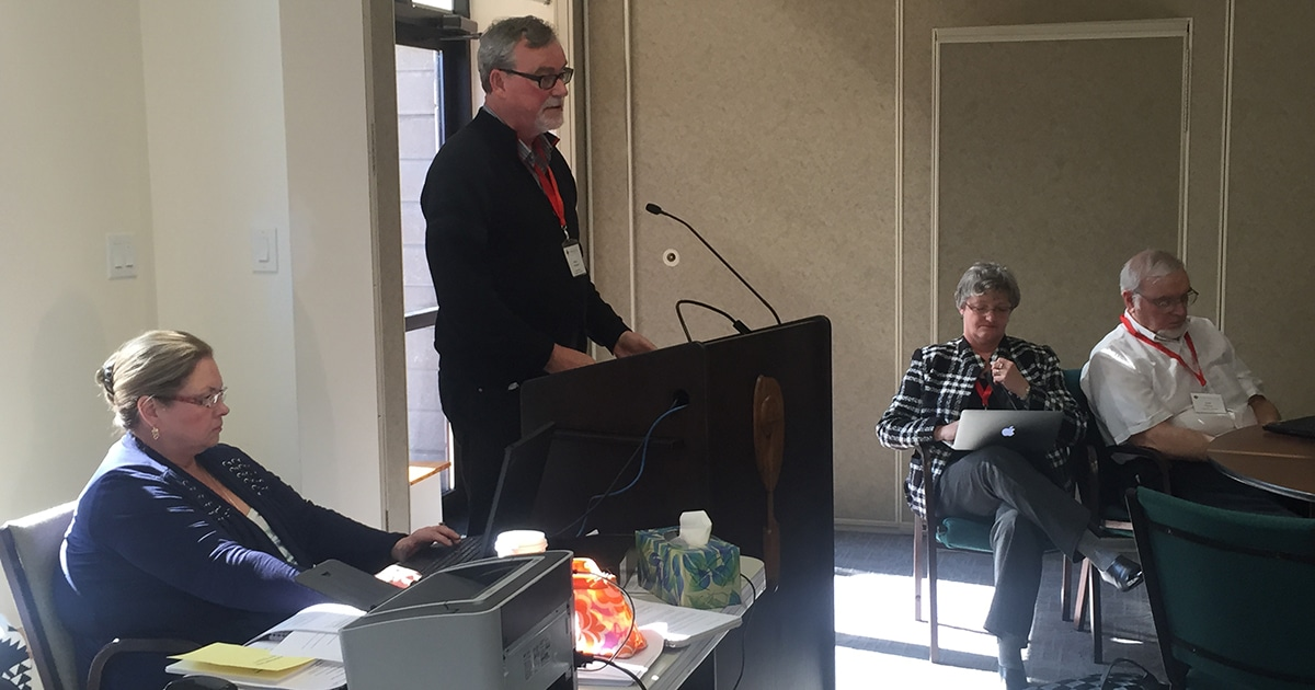 General Secretary Michael Thompson speaks to members of the Council of General Synod on Friday, March 11. Photo by Matt Gardner