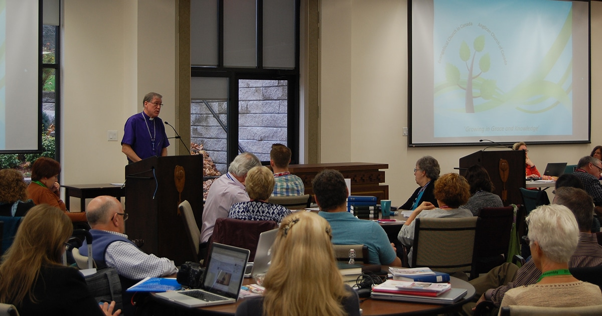 Archbishop Fred Hiltz, Primate of the Anglican Church of Canada, speaks to members of the Council of General Synod and the Evangelical Lutheran Church in Canada's National Church Council on November 13.