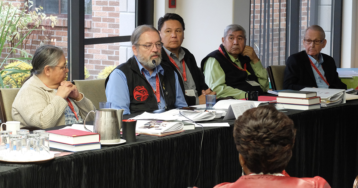 National Indigenous Anglican Bishop Mark MacDonald speaks alongside members of the Anglican Council of Indigenous Peoples (ACIP) and the Primate's Commission on Discovery, Reconciliation and Justice during the report from ACIP at the November 2016 meeting of the Council of General Synod. L-R: Grace Delaney, Bishop MacDonald, Vincent Solomon, Andrew Wesley, and Terry Finlay. Photo by Matt Gardner