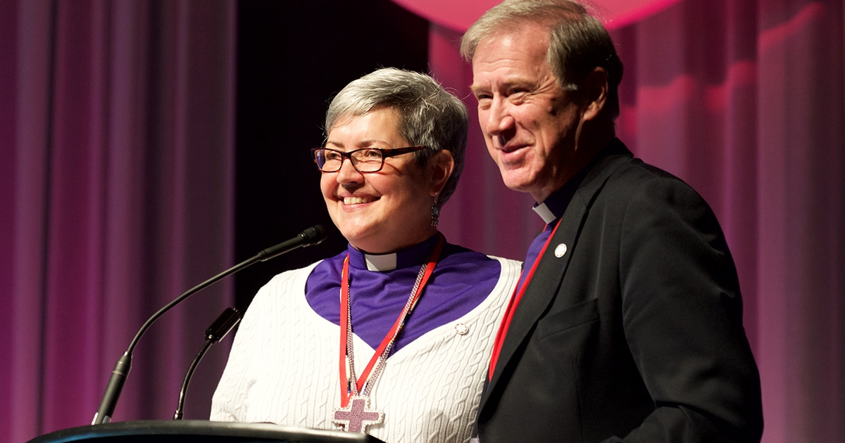 The Rev. Susan Johnson, National Bishop of the Evangelical Lutheran Church in Canada (ELCIC), and Archbishop Fred Hiltz, Primate of the Anglican Church of Canada, appear together at the ELCIC's 15th National Convention on July 9.