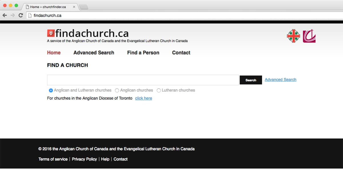 A collaboration between the Anglican Church of Canada and the Evangelical Lutheran Church in Canada, the Find a Church website allows users to instantly find the closest Anglican or Lutheran church in their area.