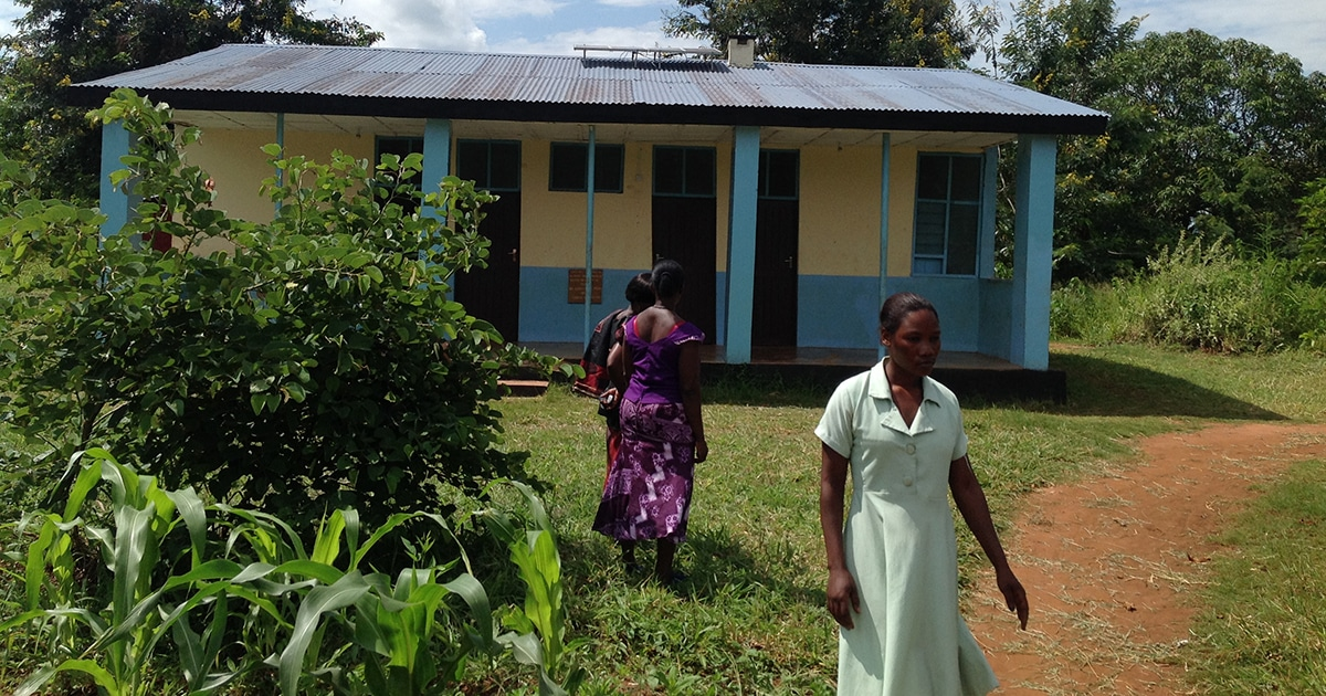 Solar panels provide electricity to a health clinic in rural Tanzania.