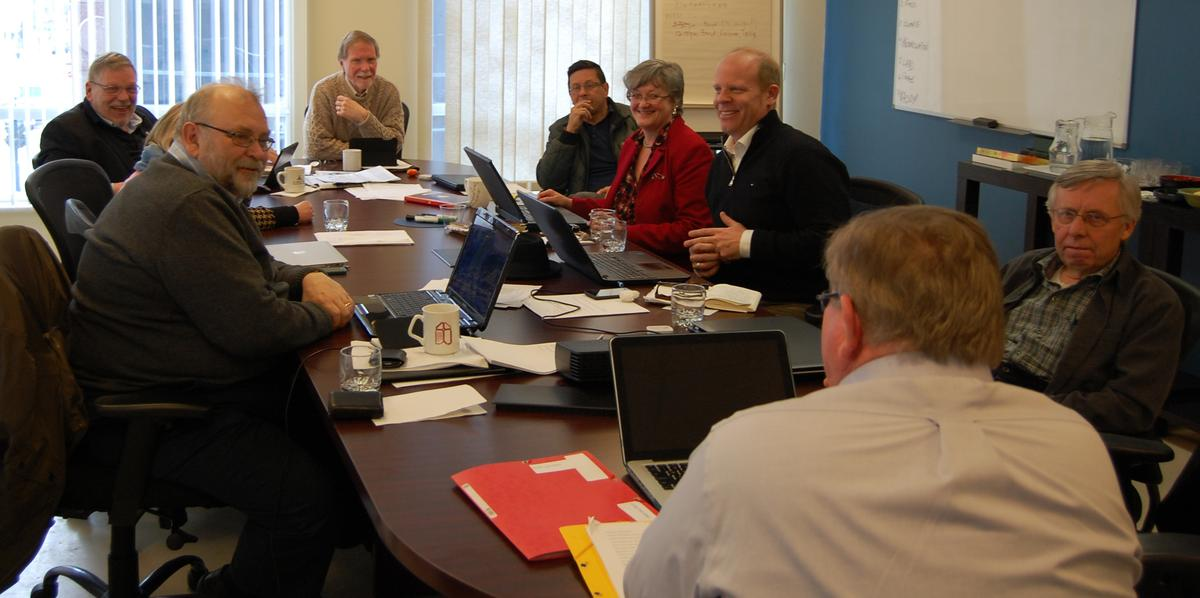 Members of the Liturgy Task Force meet at Church House in Toronto on Wednesday, March 4.