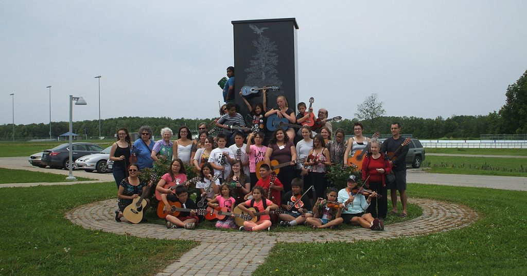 Participants in the 2015 music camp at Six Nations. Submitted photo