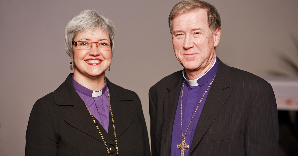 Bishop Susan Johnson, Evangelical Lutheran Church In Canada, and Archbishop Fred Hiltz, Primate, The Anglican Church of Canada, Mississauga, ON, Canada.