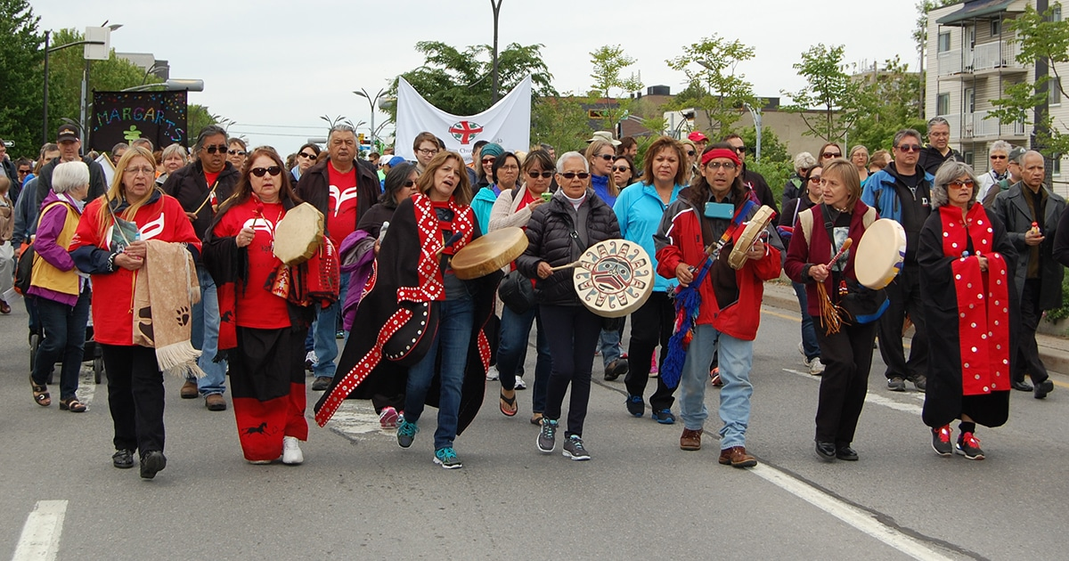 Drummers and marchers walk through the streets of Ottawa on May 31 during the Walk for Reconciliation, which kicked off the closing ceremonies of the Truth and Reconciliation Commission. Photo by Matt Gardner