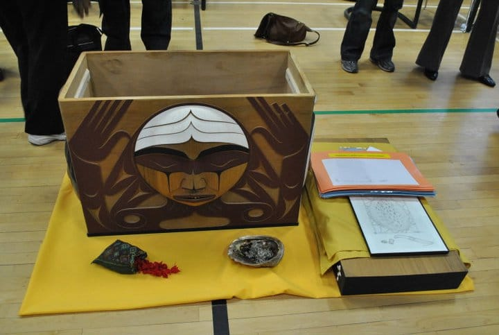The Bentwood Box, a tribute created by artist Luke Marston to all Indian residential school survivors , is seen at one of the seven national events held by the Truth and Reconciliation Commission.