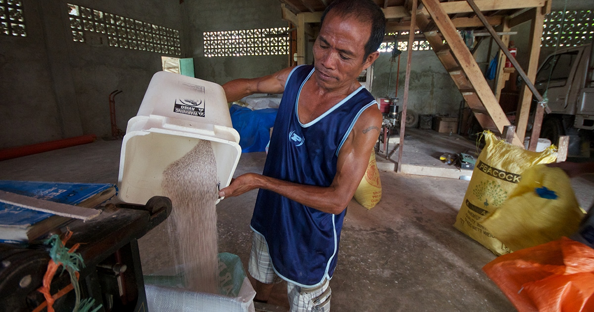 Gaudencao Polistico runs the FARDEC rice mill, separating the rice kernels from the bran that is used as fertilizer or animal feed. Submitted photo by Simon Chambers