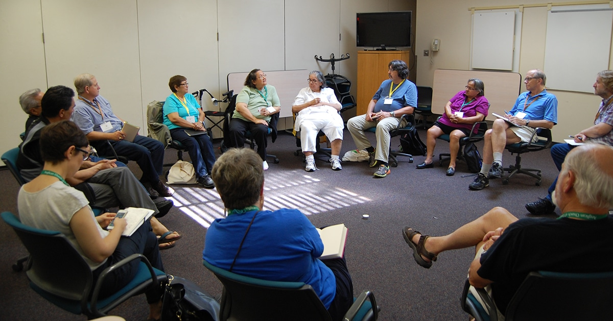 Sacred Circle participants contribute to a learning circle discussing Indigenous Urban Ministry on Tuesday, Aug. 18.
