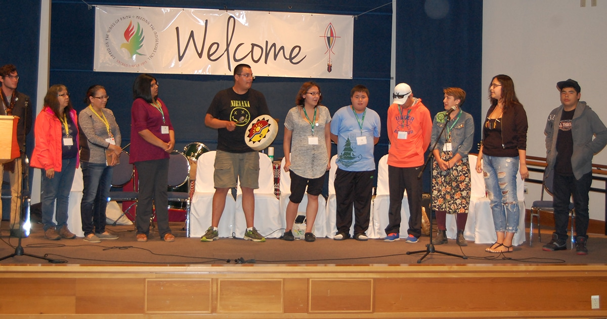 Young Indigenous Anglicans perform a song at the 2015 Sacred Circle. Photo by Matt Gardner