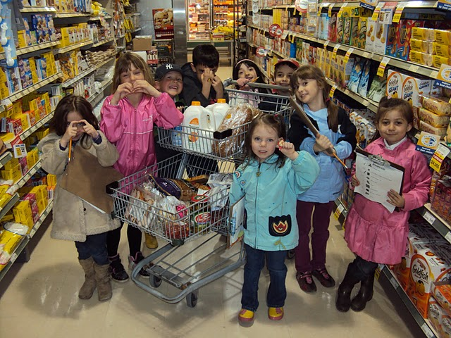 Elementary school students go grocery shopping as part of the Daily Bread Project. Submitted photo