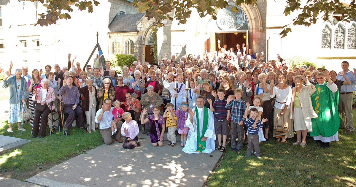 Congregation of St. George's Anglican Church in Guelph, Ont. The Rev. Canon Ralph Blackman, rector, can be seen near centre in the front row wearing a green stole. Submitted photo