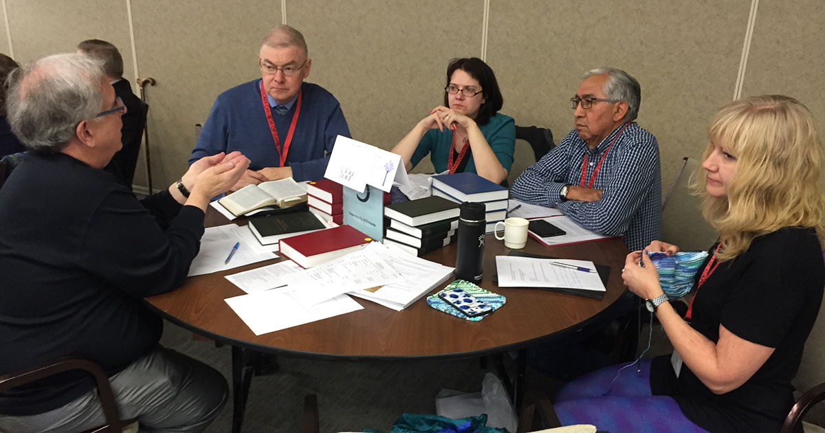 A table group converses at the November 2016 meeting of the Council of General Synod. Photo by Matt Gardner