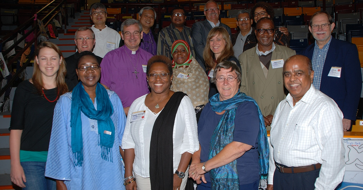 The Rt. Rev. Michael Oulton (middle row, second from left), bishop of the diocese of Ontario, is serving as the Anglican Church of Canada's official observer at the 42nd General Council of the United Church of Canada. Other Anglicans on the global ecumenical partner delegation—shown here—include Canon Dr. Alyson Barnett-Cowan (front row, second from right), president of the Canadian Council of Churches, and Ms. Jennifer Henry (middle row, third from right), executive director of KAIROS Canada. Submitted photo by Dan Benson / United Church of Canada