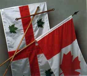 Flag of the Anglican Church of Canada along with the Canadian Flag