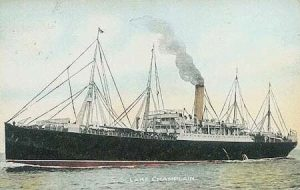 The SS Tyrolia (one of her several names), which carried the 4th Battalion CEF to England.