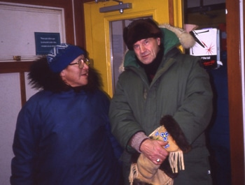 Bishop Sperry at the Holman, N.W.T., airport with catechist and old friend Morris Nigiyok, circa 1990.  TIM CHESTERTON