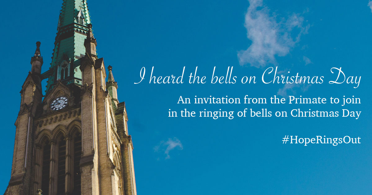 Image of a church spire with invitation to join in ringing bells.