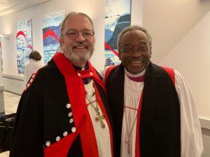 Archbishop Mark MacDonald along with Presiding Bishop Michael Curry at General Synod 2019