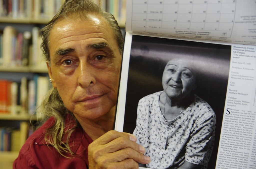 Joe McGregor, an elder of the Kahnawake community, shows a photo of his mother taken as part of a language and culture program run by KORLCC in the 90s. Joe is one of the hosts of the weekly Mohawk language radio show aired on Wednesdays in Kahnawake. Submitted photo