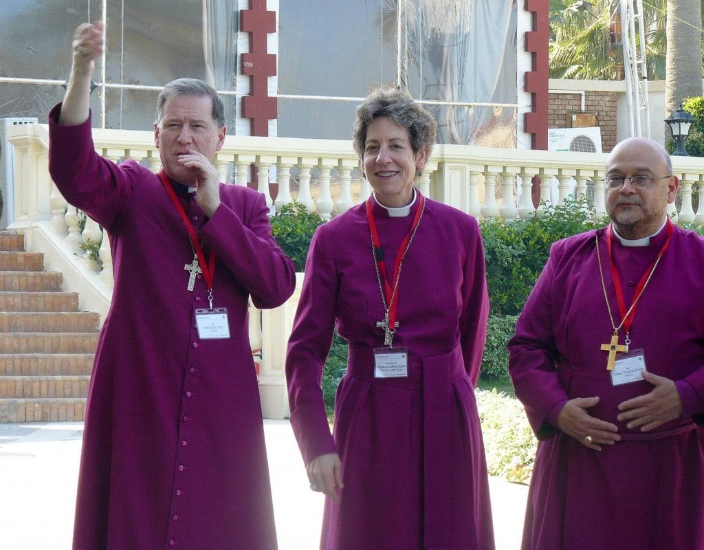 Primates Meeting 2009 in Alexandria, Egypt. Left to right: Archbishop Fred Hiltz, Presiding Bishop Katharine Jefferts Schori, Archbishop Carlos Touche-Porter. Photo from Anglican Communion Archives