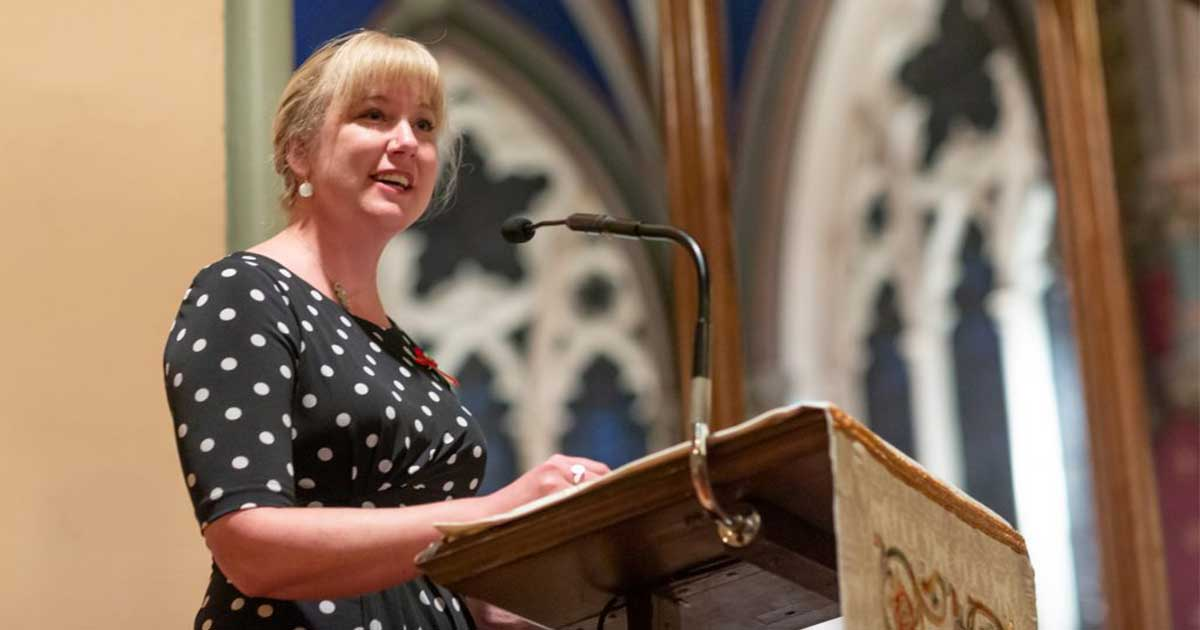 Reconciliation Animator Melanie Delva addresses graduates at Montreal Dio's annual Choral Evensong and Convocation. Photo Montreal Diocesan Theological College