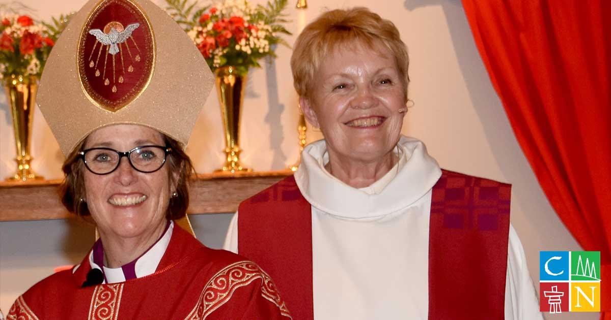 The Rev. Diane Hilpert Mcilroy (R) with Archbishop Anne Germond