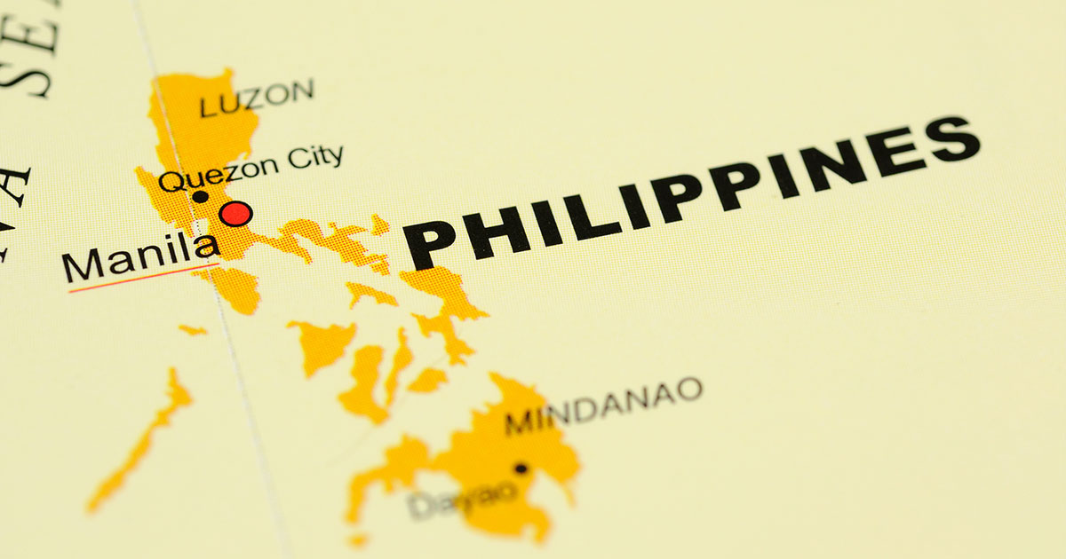 Detail of a map of the Philippines