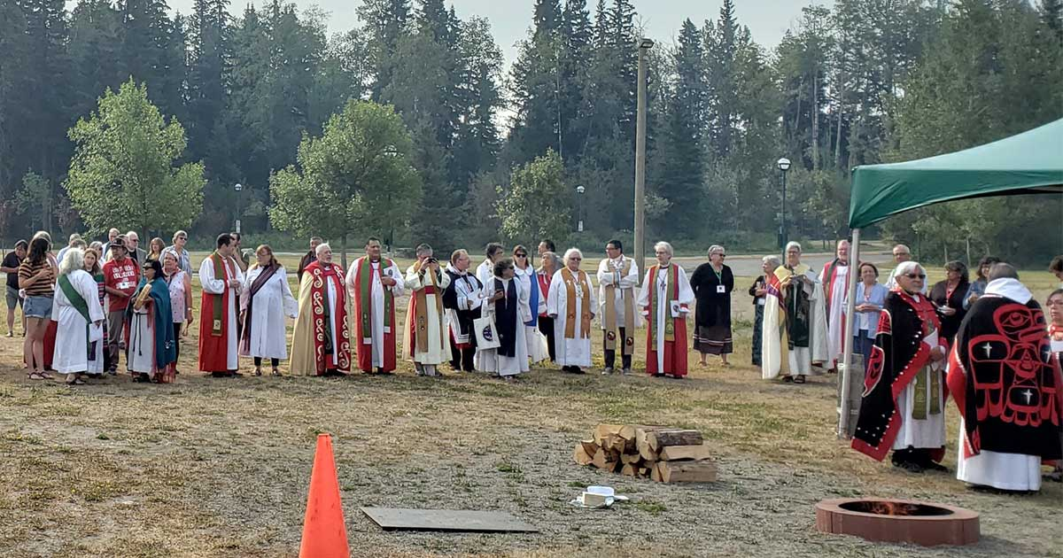 Participants gather for the opening ceremony of the Ninth Indigenous Anglican Sacred Circle, August 2018. Photo: Anglican Video