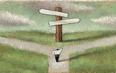 Illustration of a person at a crossroads